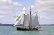 Halibut Schooner under full sail.